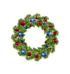 Christmas wreath Green fir branches with red and vector image vector image
