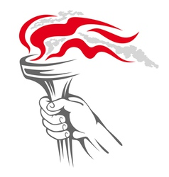Flaming torch in people hand vector image vector image