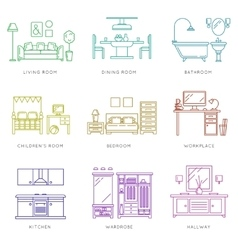 Home rooms interior in linear style icons vector image vector image