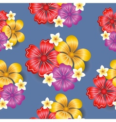 Tropical flowers seamless pattern background vector image vector image