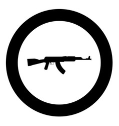 assault rifle black icon in circle isolated vector image