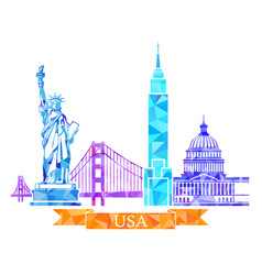 attractions of the united states in polygonal vector image vector image
