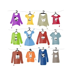 Set of clothes on hangers with funny animal design vector image