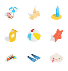 summer travel icons isometric 3d style vector image vector image