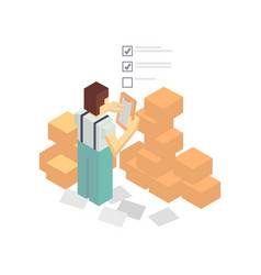 warehouse worker with delivery boxes vector image vector image