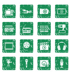 audio and video icons set grunge vector image