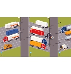 Heavy trucks parking lot vector image