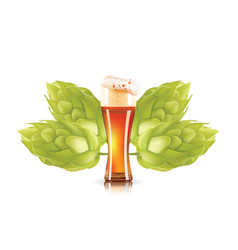 Hop plant and elegant glass of beer 3d icon vector