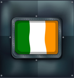 ireland flag on square badge vector image vector image