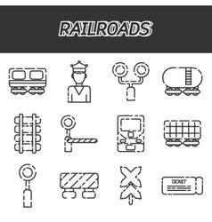 Railroads icons set vector image vector image