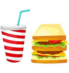 sandwich with water drink vector image