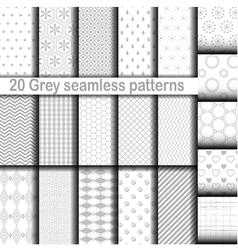 Set of 20 gray seamless patterns vector image vector image