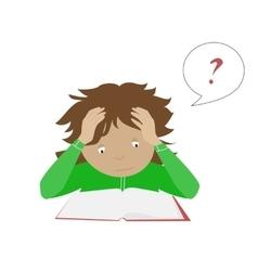 Studying student girl Thinking schoolgirl vector image vector image