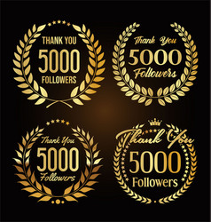5000 followers with thank you with golden laurel vector
