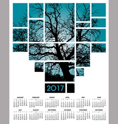 A 2017 tree and nature calendar vector