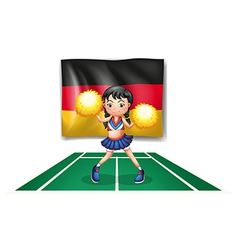 A cheerleader in front of the German flag vector image