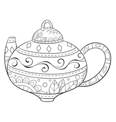 Adult coloring bookpage a christmas teapot with vector
