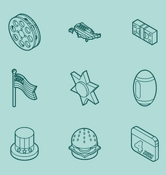 America color outline isometric icons vector