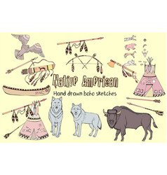 american indian backgroundhand drawn sketches vector image