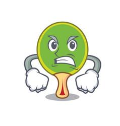 Angry ping pong racket mascot cartoon vector