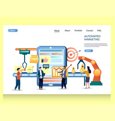 automated marketing website landing page vector image
