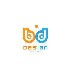 Bd b d orange blue alphabet letter logo vector