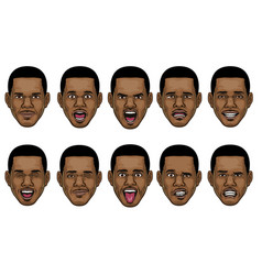 black man head in various face espression vector image