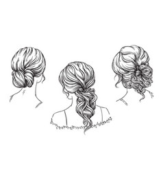 bridal hand drawn hairstyles vector image