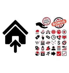 Building Entrance Flat Icon with Bonus vector image
