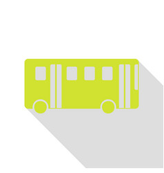 bus simple sign pear icon with flat style shadow vector image