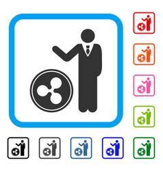 Businessman show ripple coin framed icon vector