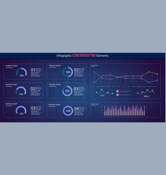 charts dashboard financial analytical chart vector image