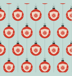christmas covid19 seamless pattern virus vector image