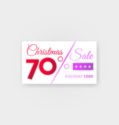 Christmas sale 70 percent discount coupon vector