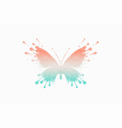 colorful icon of red-turquoise butterfly vector image