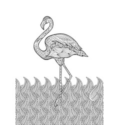 coloring page with doodle style flamingo in the vector image