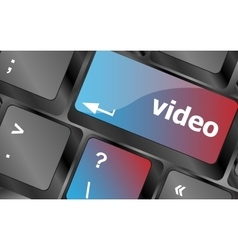 Computer keyboard with video key - technology vector image