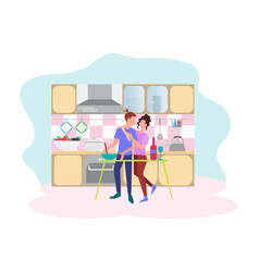 concept of a date in the kitchen vector image