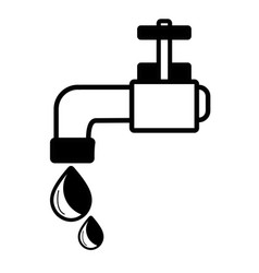 Contour faucet with drop of water to ecology vector