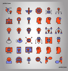 creative and design color line icons perfect pixel vector image