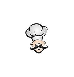 Creative chef head moustache hat cartoon logo vector