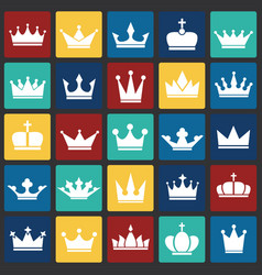 crown set on color squares background for graphic vector image