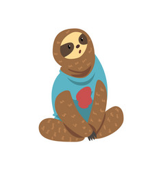 cute funny sloth lazy exotic rainforest animal vector image