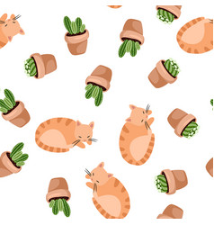 Cute ginger cat and succulent plants in lagom vector