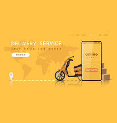 delivery service online food order landing page vector image