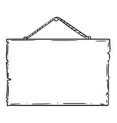 Doodle drawing empty or blank wooden sign vector