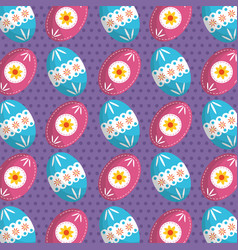 Easter poster on a repeating decorated egg pattern vector