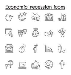 Economic recession icon set in thin line style vector