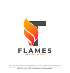 Flame with letter t logo design fire logo template vector