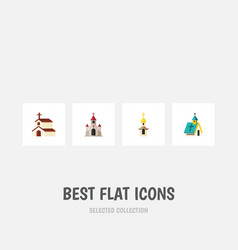 Flat icon church set of religion traditional vector